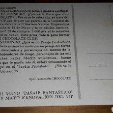 Postales: POSTAL DISCOTECA CHOCOLATE RUTA DEL BACALAO DESTROY BAKALAO MUY RARA VER FOTOS. Lote 75087187