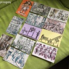 Postales: 12 POSTALES LOTERIA NACIONAL GRABADOS.EN SU SOBRE ORIGINAL. Lote 76683919