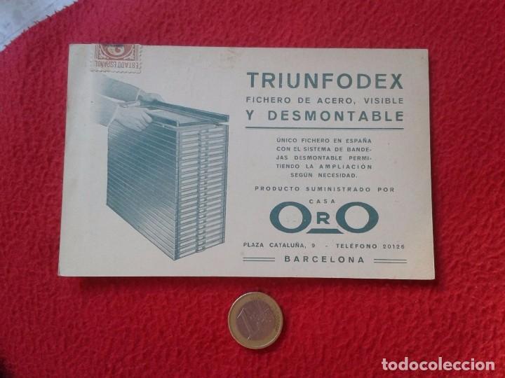 TARJETA TIPO POSTAL PUBLICITARIA TRIUNFODEX FICHERO DE ACERO CASA ORO BARCELONA. POST CARD PUBLICITY (Postales - Postales Temáticas - Publicitarias)