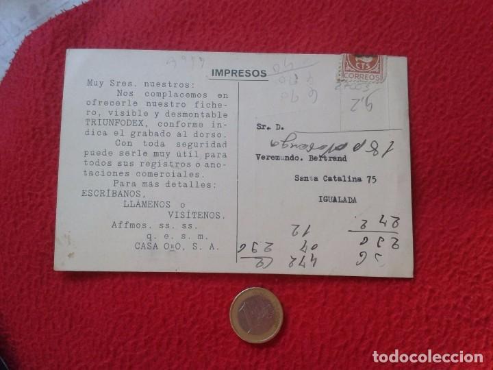 Postales: TARJETA TIPO POSTAL PUBLICITARIA TRIUNFODEX FICHERO DE ACERO CASA ORO BARCELONA. POST CARD PUBLICITY - Foto 2 - 77394937