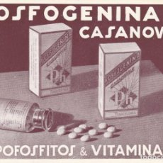 Cartes Postales: FOSFOGENINA CASANOVAS - BARCELONA - GRAGEAS HIPOFOSFITOS VITAMINA D - MEDICINA - FARMACIA - AÑOS 30. Lote 81041584