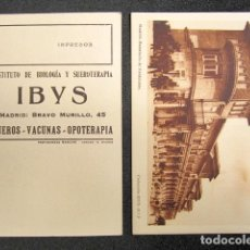 Postales: POSTAL PUBLICIDAD MEDICINA. INSTITUTO BIOLOGÍA Y SUEROTERAPIA IBYS. MADRID. SANATORIO VALDELATAS. . Lote 81065704