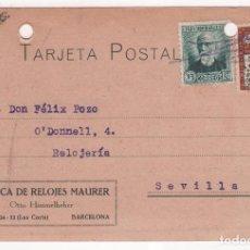 Postales: TARJETA POSTAL PUBLICITARIA FÁBRICA DE RELOJES MAURER . BARCELONA 1934. Lote 81627552