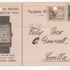 Postales: TARJETA POSTAL PUBLICITARIA FÁBRICA DE RELOJES DELTA . BARCELONA 1939. Lote 81628336