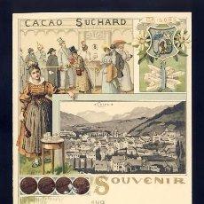 Postales: POSTAL PUBLICITARIA CACAO SUCHARD: SOUVENIR DE COIRE, GRISONS (SUIZA). Lote 82091792