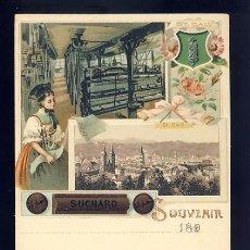 Postales: POSTAL PUBLICITARIA CACAO SUCHARD: SOUVENIR DE ST GALL (SUIZA). Lote 82091824