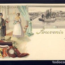 Postales: POSTAL PUBLICITARIA CACAO SUCHARD: SOUVENIR DE GENEVE (SUIZA). Lote 82092620