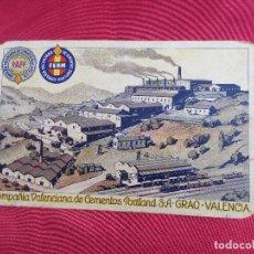 Postales: ANTIGUA POSTAL PUBLICITARIA. COMPAÑIA VALENCIANA DE CEMENTOS PORTLAND S.A. GRAO - VALENCIA.. Lote 83764968