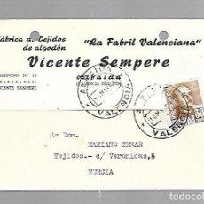 Postales: TARJETA POSTAL PUBLICITARIA. VICENTE SEMPERE. TEJIDOS. LA FABRIL VALENCIANA. ALBAIDA. 1958. Lote 83892340