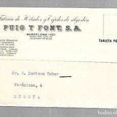 Postales: TARJETA POSTAL PUBLICITARIA. PUIG Y FONT. BARCELONA. 1958. Lote 83894000