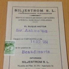 Postales: ANTIGUA TARJETA POSTAL SILJESTROM CONSIGNACIONES FLETAMENTOS CARTAGENA MURCIA 1954. Lote 93701902