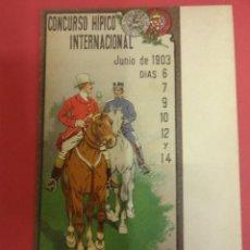 Postales: CONCURSO HÍPICO INTERNACIONAL. BARCELONA 1903. POSTAL ILUSTRADA J. CUSACHS. ORIGINAL. Lote 85383580