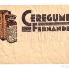 Postales: SOBRE CON PUBLICIDAD DE CEREGUMIL FERNANDEZ. Y CANIVELL. MALAGA AÑOS 30 - 40. Lote 212843771