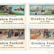 Postales: LOTE 4 TARJETAS POSTALES PUBLICIDAD DE GINEBRA FOCKINK ESCENAS DE HOLANDA. Lote 87229672