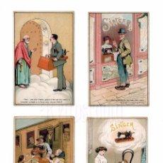 Postales: LOTE 4 POSTAL PUBLICIDAD MÁQUINAS DE COSER SINGER AÑOS 30 - 40 POSTALES. Lote 87229740