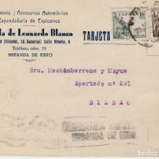 Postales: TARJETA COMERCIAL DE FERRETERIA VIUDA DE LEONARDO BLANCO EN MIRANDA DE EBRO -CENSURA MILITAR-. Lote 94745811