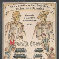 Postales: POSTAL ALEMANA II GUERRA MUNDIAL - COMPARACIÓN SUBSIDIO FAMILIAS DE LOS MOVILIZADOS - P22524. Lote 96104179