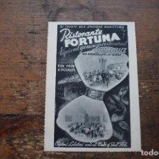 Postales: RISTORANTE FORTUNA, GENOVA, 1952, SIN CIRCULAR. Lote 96481519