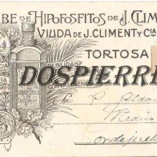Postales: POSTAL, JARABE DE HIPOFOSFITOS DE J. CLIMENT, ENVIADA A MEDICO DE GORDEJUELA. Lote 97001603