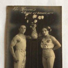 Postales: POSTAL FOTOGRÁFICA.AUTOGRAFO ORIGINAL.1918.ACROBATAS GIMNASTAS.THE MARCONI'S.CIRCO REGUES.VALENCIA.. Lote 97485783