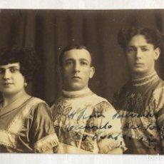 Postales: POSTAL FOTOGRÁFICA TRAPECISTAS ACRÓBATAS.LES BALDO??. AUTÓGRAFO ORIGINAL. CIRCO REGUES VALENCIA.1918. Lote 97486371