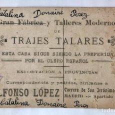 Postales: POSTAL PUBLICIDAD DE TRAJES TALARES AÑOS 30. Lote 97728687