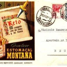 Postales: TARJETA POSTAL COMERCIAL-PUBLICITARIA GRANOLLERS DE ESTOMACAL DESTILERIAS MONTAÑA --EXCELENTE--. Lote 98375163