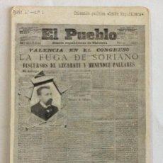 Postales: POSTAL PUBLICIDAD. COLECCIÓN POLÍTICA UNIÓN REPUBLICANA. SERIE 1 NÚMERO 1.DIARIO EL PUEBLO. VALENCIA. Lote 103515483