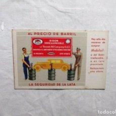 Postales: POSTAL DE PUBLICIDAD MOBILOIL SIN CIRCULAR. Lote 103785507