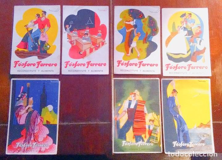 TARJETAS POSTALES FÓSFORO FERRERO. SERIE 1 - Nº 1 A 4. Y SERIE 2 - Nº 1, 2 Y 4. AÑOS 40 (Postales - Postales Temáticas - Publicitarias)