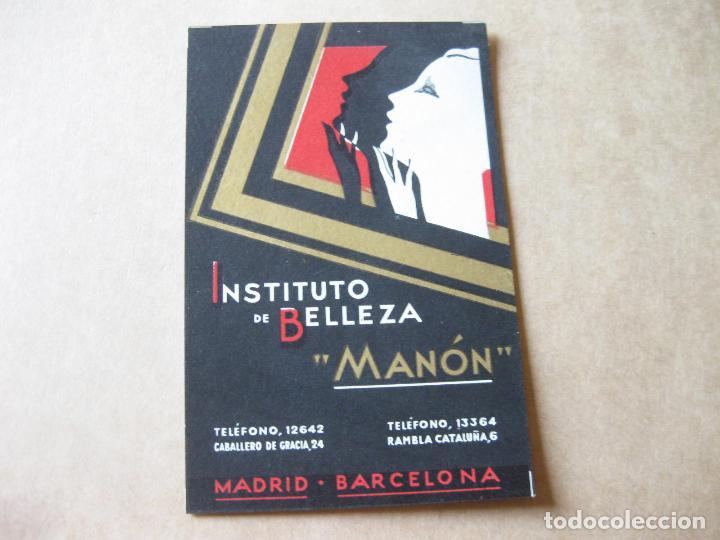POSTAL DE MENOR TAMAÑO DEL INSTITUTO DE BELLEZA MANÓN. MADRID BARCELONA (Postales - Postales Temáticas - Publicitarias)