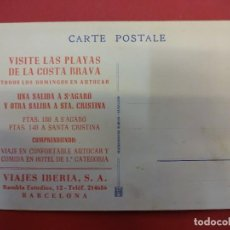 Postales: ANTIGUA POSTAL PUBLICITARIA VIAJES IBERIA. S´AGARÓ-COSTA BRAVA. Lote 105205343