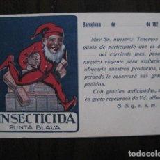 Postales: INSECTICIDA PUNTA BLAVA -BARCELONA - POSTAL PUBLICITARIA ANTIGUA- REVERSO SIN DIVIDIR - (51.164). Lote 105935911