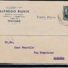 Postales: TARJETA POSTAL COMERCIAL DE CALCETERÍA FINA ALFREDO RUAIX -1932- CON MATASELLOS AMBULANTE. Lote 106823855