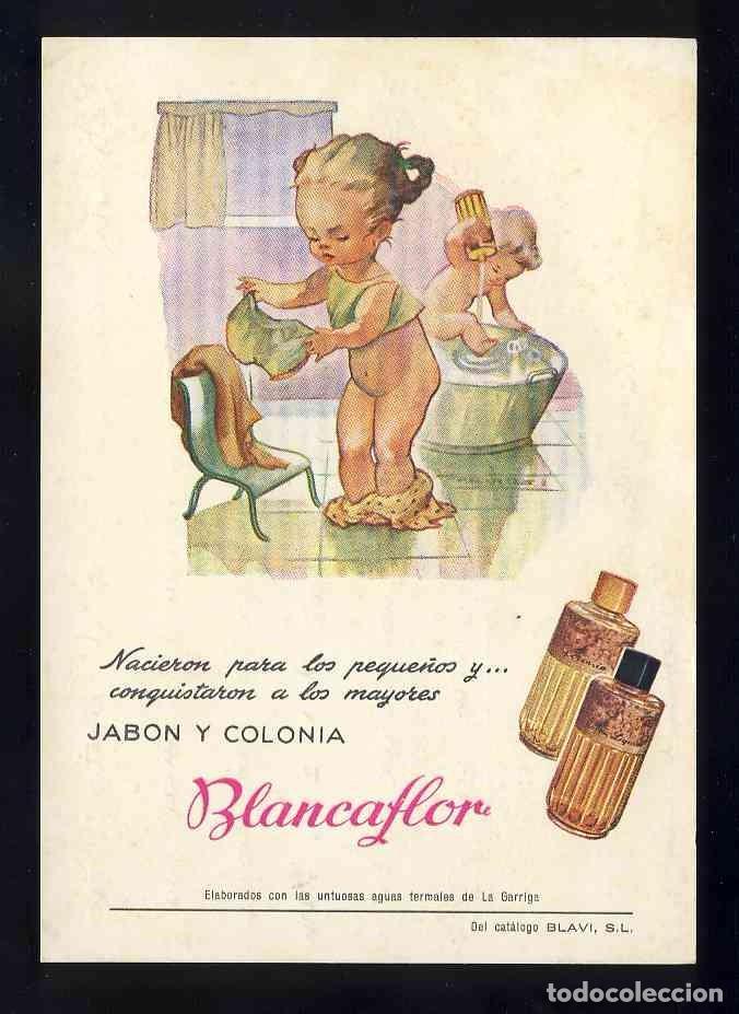 POSTAL PUBLICITARIA: JABON Y COLONIA BLANCAFLOR. PERFUME, PERFUMERIA (Postales - Postales Temáticas - Publicitarias)