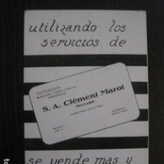 Postales: MATARO - TINTORERIA CLEMENT MAROT -POSTAL PUBLICITARIA -VER REVERSO -(51.258). Lote 107683471