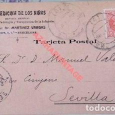 Postales: TARJETA POSTAL PUBLICITARIA LA MEDICINA DE LOS NIÑOS, CIRCULADA EN 1905. Lote 107916627