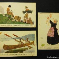 Postales: LOTE DE 3 POSTALES PUBLICIDAD FARMACIA HEMOSTYL DOCTOR ROUSSEL DE FUERZAS. Lote 112553455