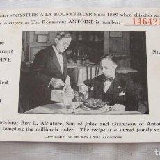 Postales: POSTAL RESTAURANTE ANTOINE NEW ORLEANS 1956. Lote 112911663