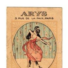 Postales: PUBLICIDAD ARYS PERFUME FOX TROT PARIS. EXTRACTO AGUA DE TOCADOR LOCIÓN JABÓN COSMÉTICO. AÑOS 20. Lote 114385139