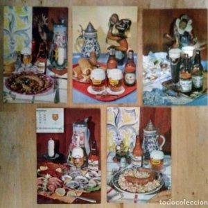 5 postales ESTRELLA DAMM 10x15 Colección platos típicos Estrella Damm 1101, 1102, 1104, 1106, 1107