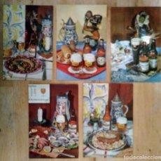 Postales: 5 POSTALES ESTRELLA DAMM 10X15 COLECCIÓN PLATOS TÍPICOS ESTRELLA DAMM 1101, 1102, 1104, 1106, 1107. Lote 116649199