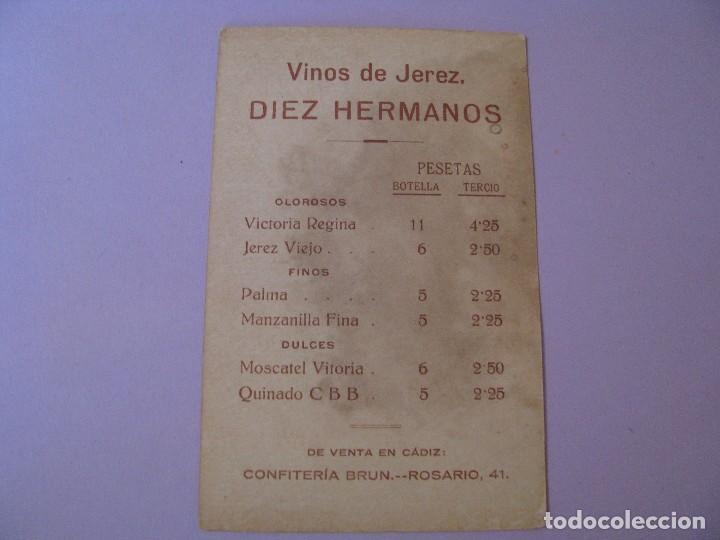 Postales: POSTAL DE PUBLICIDAD DE VINOS DE JEREZ. DIEZ HERMANOS. CONFITERÍA BRUN CADIZ. CUADRO DE MURILLO. - Foto 2 - 118709979