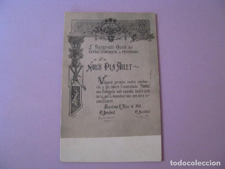 POSTAL DE L'AGRUPACIÓ CHORAL DEL CENTRE COOPERATIVIU DE PESCADORS. BARCELONA 1918. (Postales - Postales Temáticas - Publicitarias)