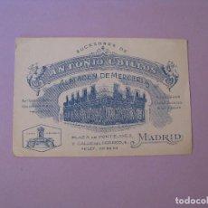 Postales: ANTIGUA TARJETA PUBLICIDAD DE ALMACENES DE MERCERÍA SUCESORES DE ANTONIO UBILLOS. MADRID.. Lote 120811687