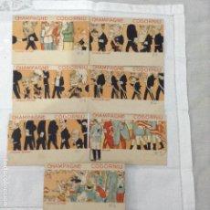 Postales: CODORNIU CHAMPAGNE ILUSTRADOR BRUNÉT 7 POSTALES DE UNA SERIE DE 10. Lote 122430391
