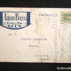 Postales: POSTAL PUBLICITARIA. PUBLICIDAD IMPRESA. ANTONIO BARRERA, REUS. CIRCULADA, VITORIA. AÑO 1927. Lote 124721939