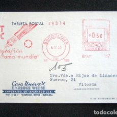 Postales: POSTAL PUBLICITARIA. PUBLICIDAD IMPRESA. CASA UNIVEX, BARCELONA. CIRCULADA, VITORIA. 1955. Lote 124746031