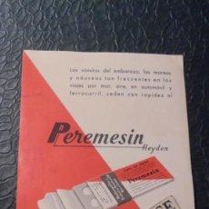 Postales: MEDICINA / IMPRESOS - PEREMESIN HEYDEN CONTRA LOS VOMITOS - 15X10,5 CM. . Lote 125728035