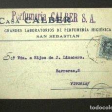 Postales: POSTAL PUBLICITARIA. PUBLICIDAD IMPRESA. CASA CALBER, PERFUMES. SAN SEBASTIÁN. VITORIA, 1925. . Lote 126238883
